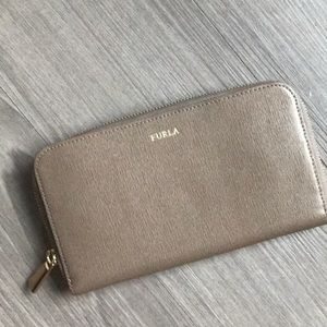 Furla taupe zip wallet